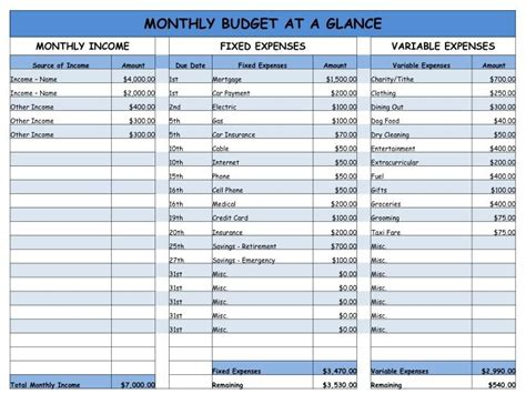 Home is Where my Heart is: Monthly Budget - Easy Worksheet